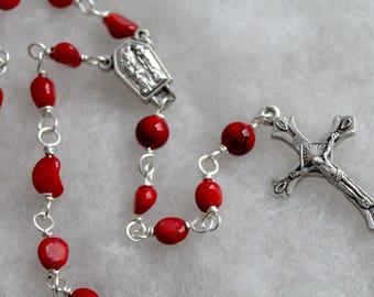 Red Coral Rosary; Catholic Prayer Beads; Handmade Rosary; pocket rosary; single decade rosary