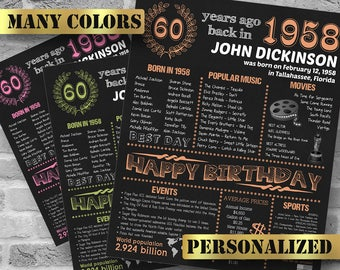 Personalized 60th Birthday Printable Poster, 1958 Fun Facts, 60 Birthday Gift, Custom Birthday Decor, 1958 Birthday Decoration, DIGITAL FILE