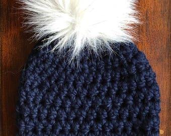 Navy Sparkle Slightly Slightly Slouchy Women's Hat with gold-sparkle faux fur pom-pom