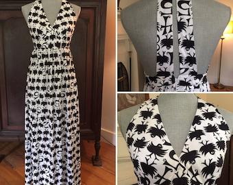 Black and white vintage halter dress