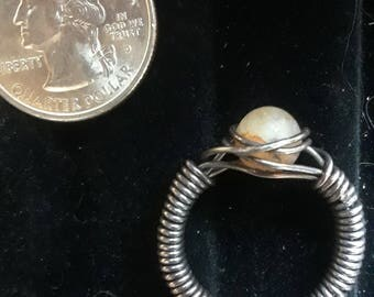 Translucent Lace Agate and Oxidized Sterling Silver Wire Wrap Ring