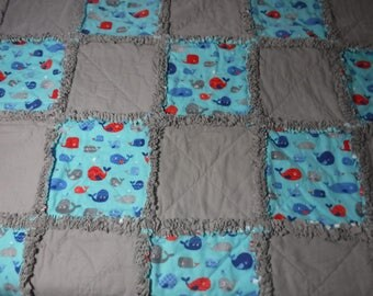 Throw rag quilt, whale rag quilt, lap quilt,ready to ship