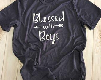 Blessed woth Boys boymom shirt tee t-shirt