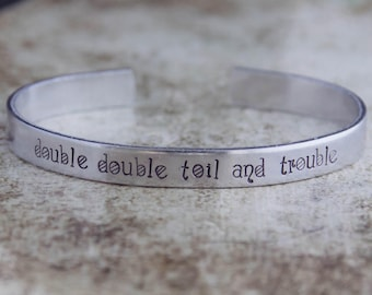 Double Double Toil And Trouble / Shakespeare Jewelry / Shakespeare Bracelet / Macbeth Jewelry / Literary Jewelry / Book Lover's Jewelry