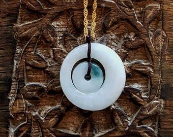 Natural Burma Grade A/Type A Jade/ Jadeite Double Doughnut Pendant With 925 Sterling SIlver Chain Necklace( JADEJ1058)