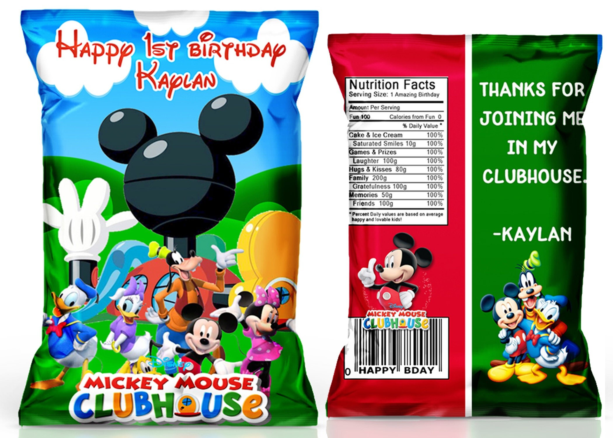 Mickey Mouse Clubhouse Chip bag Mickey Mouse Clubhouse party