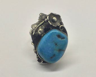 navajo Sterling silver  sleeping beauty turquoise ring #67