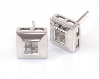 14k white Gold .50 Ctw princess cut diamond stud earrings #10673