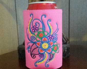 Mehndi Flower Can Cooler, Embroidered Can Cooler, Birthday Cozies, Embroidery Can Cooler, Cozies, Pink Mehndi Can Cooler, Mehndi Cozies