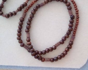 Dark brown wooden beaded necklace & bracelet, Stretch