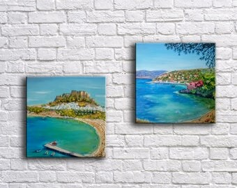 Gifts & mementos,Set of two original Greek island paintings,Kefalonia,Rhodes,Wedding gift,Seascape original paintings,Summer wall art,Beach