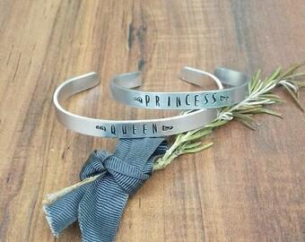Queen Bracelet, Princess Bracelet, Matching Bracelet Set, Children's Cuff Bracelet, Mama Bracelet, Hand Stamped Cuff Bracelet,