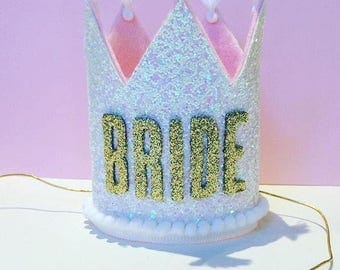 Tall Bride Glitter Crown || Hen Party Crown || Large Glitter Crown || Wedding Crown || Hen Party Accessory