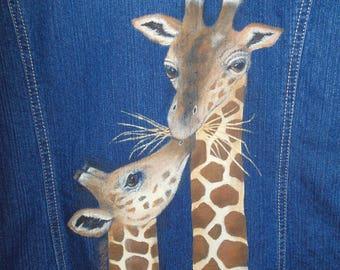 Denim jacket with hand painted giraffes
