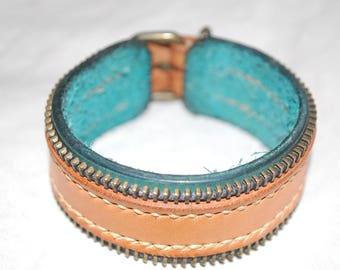 Turquoise leather and brass bracelet