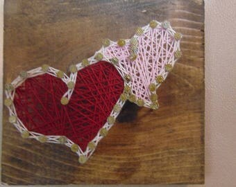 READY TO SHIP: Two Hearts Joined String Art