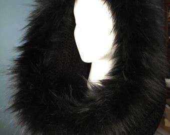 Black /Black Faux Fur Infinity Scarf