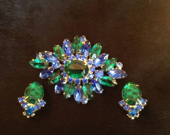 Emerald and Blue Rhinestone Set