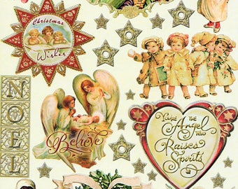Heavenly Christmas Heartwarming Vintage Stickers Crafty Secrets Scrapbook Embellishments Card Making