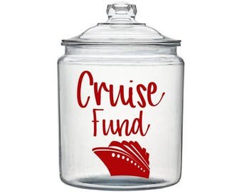 Cruise Fund Decal, Cruise Decal, Adult Piggy Bank, Family Savings Gift, Vacation Savings, Mason Jar Decal, Money Jar Decal, Gift for Couples