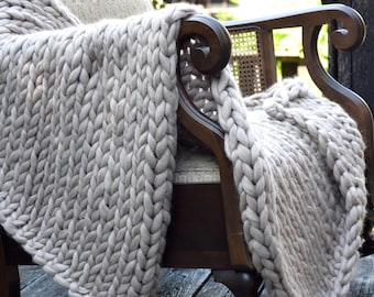Chunky Knit Blanket Throw Blanket Merino Wool Blanket Knit Baby Blanket Super Chunky Yarn Blanket Chunky Knit Throw Knit Blanket Wool Throw