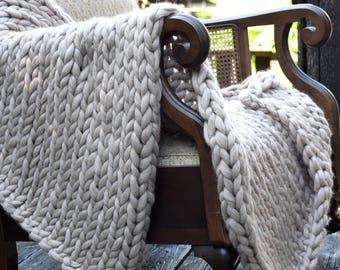 Chunky Knit Blanket Throw Blanket Merino Wool Blanket Knit Baby Blanket Super Chunky Yarn Blanket Chunky Knit Throw Knit Blanket Wool Throw