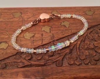 Ethiopian Opal and rose gold heart bracelet