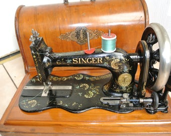 Antique Victorian Singer 12K Fiddle Base Sewing Machine + Case WITH Ottoman Carnation Decals(RARE)
