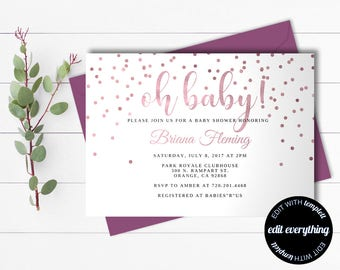 Pink Baby Girl Shower Invitation Template - Girl Baby Shower Template - Instant Download Baby Shower Invite - Editable Baby Shower