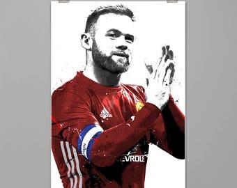 Wayne Rooney Manchester United art print Soccer wall decor Football poster Sport wall art Wall decor Modern art print #0216