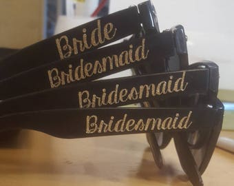 Bridal Party Glasses - Individual or Set of 2, 3, 4, 5, 6, 7, 8, 9, 10
