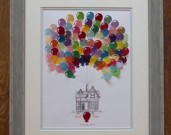 Hot air balloon fingerprint guestbooks