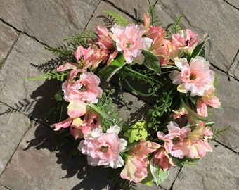 Pink wreath with Salmon mix of flowers