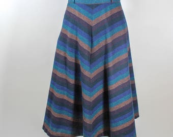 Vintage Wool Blend A Line Midi Skirt Striped Women's 4