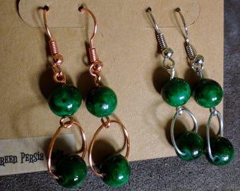 Jade Green - Copper or Silver - Wire Earrings
