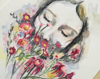 Watercolor original woman flower