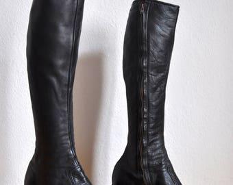 1970s vintage mens glam rock platform boots black