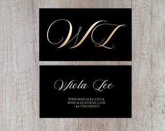 Gold Business Card, Gold Foil Business Card, Black Business Card Design, Business Card Template, Premade Business Card, Custom Business Card