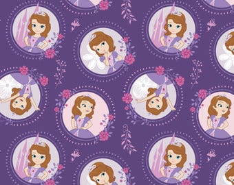 Floral Frame in Grape - Sofia the First by Camelot Design Studio from Camelot Fabrics - Sofia the First Fabrics - Disney Fabrics