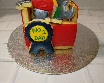 Fathers day iced biscuits toolbox and tools - #1 dad