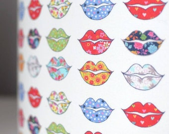 Floral lips lampshade fabric light / lamp shade handmade by vivid shades, colourful kiss flower pattern drum shade ceiling valentines funky