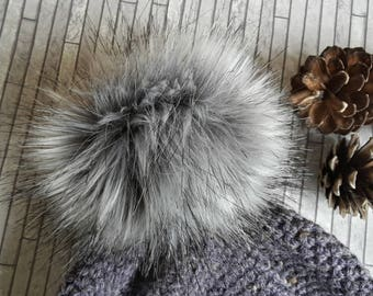 Faux fur pom pom, Faux fur pompom, Pom pom for hat, Long pile pom pom, Grey pom pom