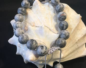 Women Grey Jasper Adjustable Wrist Mala Bracelet Smooth Round Bead Knotted Gemstone Gift
