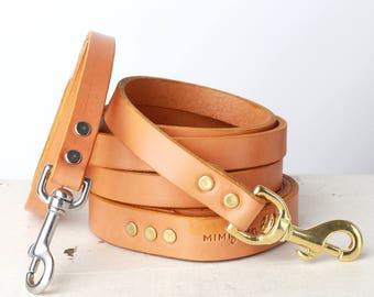 Tan Leather Dog Leash -- Classic Style
