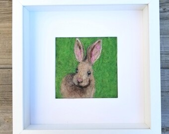 Baby Rabbit Needle Felted Wool Painting - Nursery Room - Baby Shower Gift