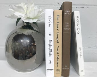 Brown and White Decorative Book Set