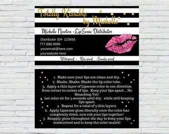 Striped LipSense Business Cards, Printable, Digital File, Custom Business Card, Lipsense, Download, SeneGence Business Card, Kisses, Lips
