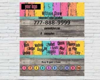 LuLa, Business Card, Home Office Approved, Download, Printable, Personalized, Punch Card, Frequent Buyer, Fashion Consultant, Reward Card