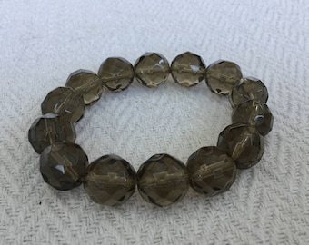 Faceted Smokey Green Glass Bead Elasticated Bracelet