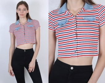 70s Polo Shirt // Vintage Striped Short Sleeve Cropped Top Denim Womens - Extra Small xs